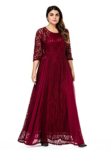ESPRLIA Women\'s Plus Size Floral Lace 3/4 Sleeve Wedding Maxi Dress ...