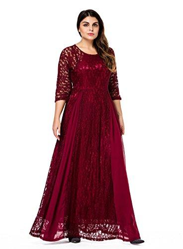 ESPRLIA Women\'s Plus Size Floral Lace 3/4 Sleeve Wedding Maxi Dress (2X,  Wine)