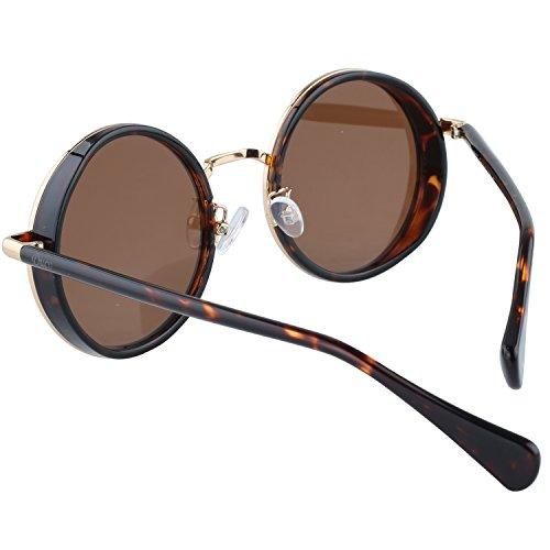 Lens UV400 Steampunk Protection Cyber Style Brown W004 Mirror Frame Cosplay Vintage Sunglasses Retro Lens Sunglasses Round Tortoise Duco vwxTEPHqR