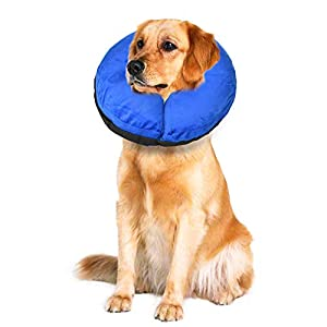 TANDD Protective Inflatable Collar for Dogs and Cats, Comfortable Pets Post Operative Collar to Prevent Pets from Touching Biting Scratching at Injuries Wounds Stitches