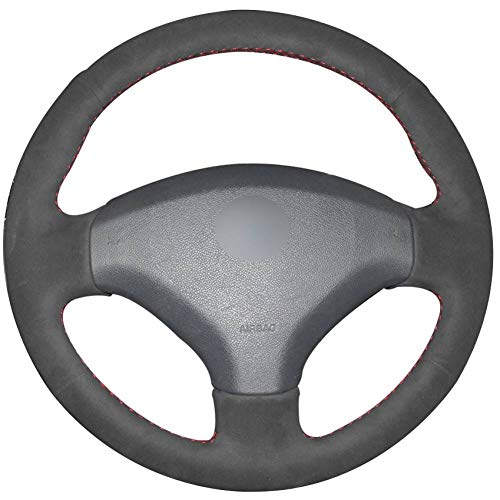 KAIDDRGFH Black old suede car steering wheel cover for Peugeot 408 Peugeot 308:
