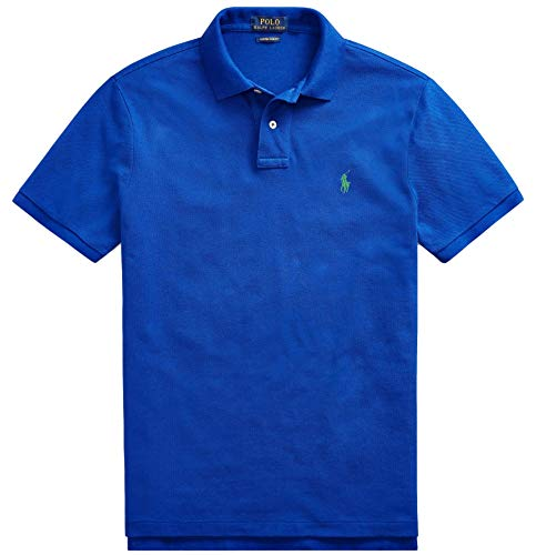 Polo Ralph Lauren Men Custom Fit Mesh Pony Logo Shirt (M, RugbyRoyal)