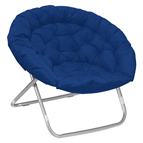 (Oversized Moon Saucer Chairs for Kids Teens Adults Large Folding Padded Portable Gaming Chair Bundle Includes 2 in 1 Stylus Pen from Designer Home (Blue))
