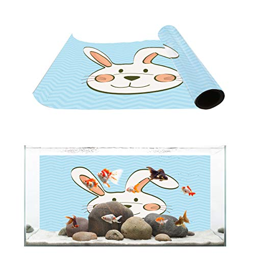 Fantasy Star Aquarium Background Kawaii Rabbit and Wave Ripple Pattern Fish Tank Wallpaper Easy to Apply and Remove PVC Sticker Pictures Poster Background Decoration 12.4