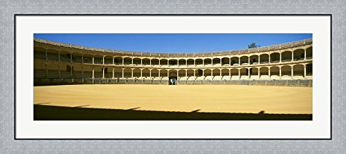 Bullring, Plaza de Toros, Ronda, Malaga, Andalusia, Spain by Panoramic Images Framed Art Print Wall Picture, Flat Silver Frame, 44 x 20 inches by Great Art Now