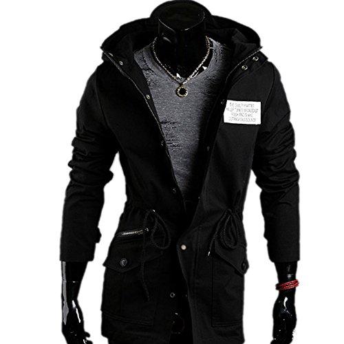 Men's Winter Coat Slim Fit Thick Military Rider Jacket Coat Black-J03