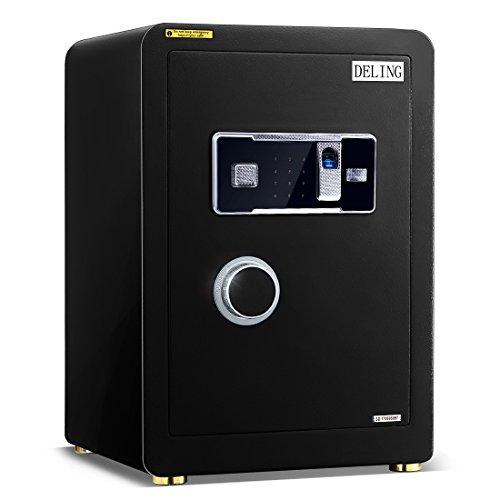 Ainfox Digital Security Safe Box, 2 Cubic FeetCabinets Fingerprint Biometric Wall Safe Lock Box Cash Strongbox with Number Keys Emergency Lock by Ainfox (Image #1)