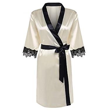OURS Women's Kimono Robe Short Satin Bathrobe With Lace Detail (XL, Beige)