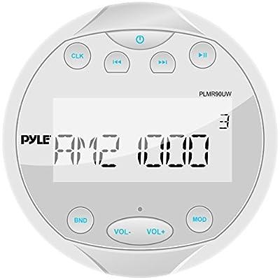 Pyle Hydra Waterproof Bluetooth Marine Digital Receiver Stereo Radio USB/MP3/AM/FM/AUX Input, Round/Circle