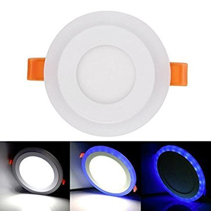 RIFLECTION 6W LED Panel Ceiling Down Indoor Light With 3D Effect, White & Blue, Round