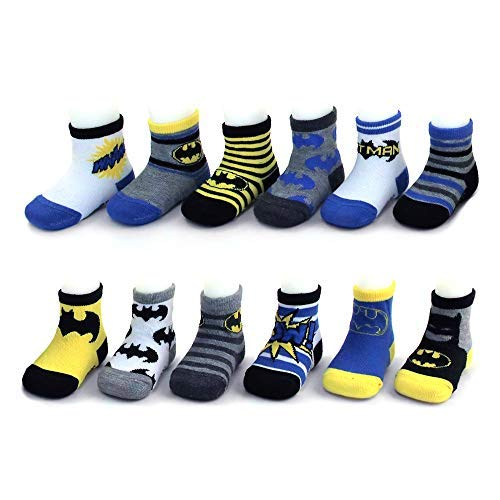 DC Comics Assorted Superhero Characters 12 Pair Socks Set, Baby Boys, Age 0-24M (Batman Design Set, 12-24 Months) ()