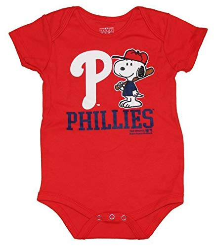 Genuine Merchandise Philadelphia Phillies Snoopy at Bat Infant Size 6-9 Months One Piece/Bodysuit - Red Creeper