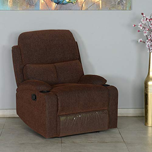 @home By Nilkamal Matt 1 Seater Recliner  Fabric, Brown, Cocoa