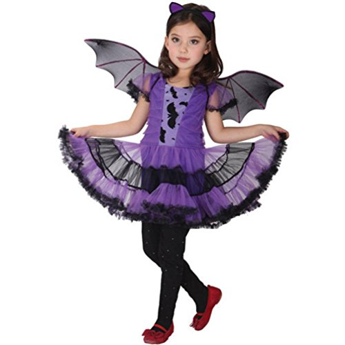 Keepfit Toddler Kids Baby Girl Halloween Costume Cosplay Dress, Hair Hoop and Bat Wing Outfit Clothes (2T-3T, Purple)]()