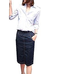 Women's Skinny Elastic High Waist Slim Fit Long Straight Denim Jeans Skirts
