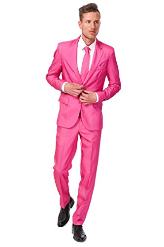 [OppoSuits B.V mens Men's SuitMeister Basic Pink Suit Small] (Pink Man Suit)