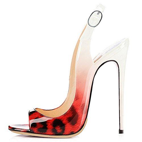 Modemoven Kvinder Laklæder Pumps, Peep Toe Hæle, Slingback Sandaler, Aften Sko, Søde Stiletter Rød Leopard