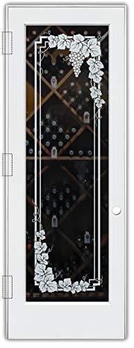 Wine Door Vineyard Grapes Garland 1D Sandblast Etched Glass Door