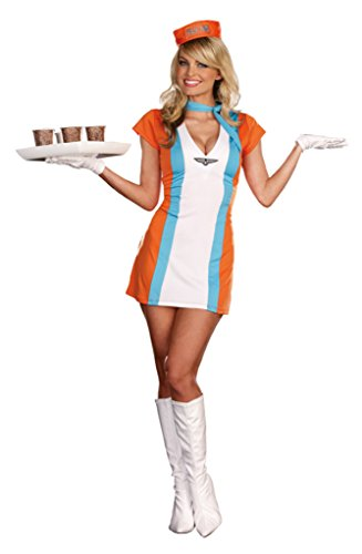 Coffee Tea Or Me Costumes (Dreamgirl Womens Uniforms Coffee Tea Or Me Vintage Styled Halloween Costume, L (10-14))