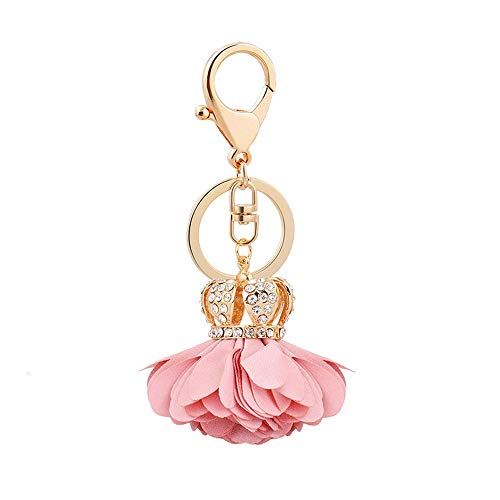 (COGEEK Crown Cloth Flower Shape Alloy Key Chain Bag Pendant Car Pendant Gift (Pink))