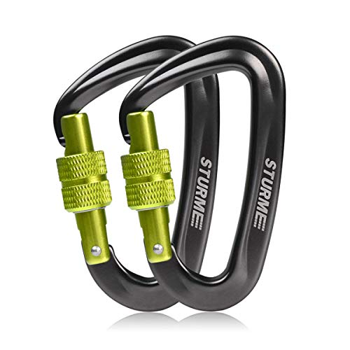 STURME Carabiner Clip 12KN Aluminium Wiregate Lightweight Heavy Duty Large Strong Durable D-Ring Hooks Spring Snap Link Keychain Clips Set for Hammock Improved Design 2018 (Green) reviews