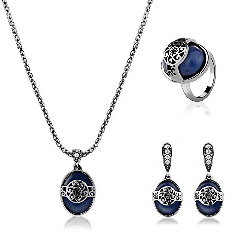 AMADER Necklace Earring Ring Fashion Jewelry Sets Boxed Silver Plated (Costume Express Catalog)