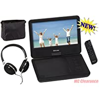 9 inch Portable DVD/CD Player with Swivel Screen and Fold, Rechargeable Battery, Remote Control, Travel Bag with Matching Color Headphones and AC/DC Adapter Encore DVD901MO - Black