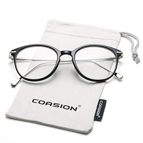 COASION Vintage Round Clear Glasses Non-Prescription Eyeglasses Frames for Women Men ()