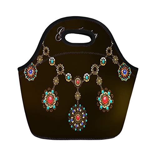 Semtomn Lunch Tote Bag Ethnic Gold Necklace Semiprecious Stones Carnelian Turquoise Lapis Lazuli Reusable Neoprene Insulated Thermal Outdoor Picnic Lunchbox for Men Women