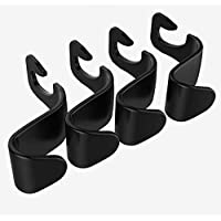 Car Seat Back Hook Auto Seat Headrest Portable Organizer Holder Hooks(Black -Set of 4)