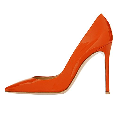 uBeauty Womens Court Shoes Pointed Toe Pumps Closed Toe High Heels Sandals Slim Stiletto Office Work,12cm Orange Patent Heel 12cm