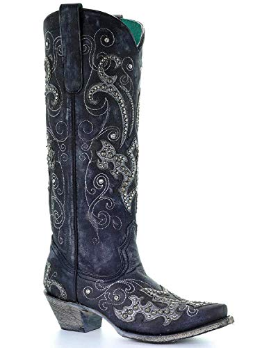 (CORRAL Women's Tall Studded Overlay and Crystals Cowgirl Boot Snip Toe Black 8.5 M)