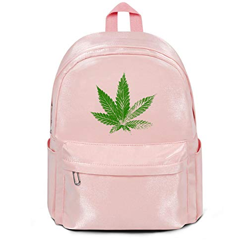 Marijuana Weed Leaf Bag Purse Fashion Nylon Durable 13 Inch Laptop Compartment Backpack College Bookbag for Men Women and ()