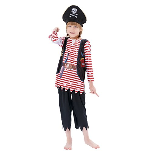 Halloween Pirate Costume Boys High Seas Buccaneer Costume ,Pirate King Costume,3Pcs (top, pants, cap),by IKALI (10-12Y) (Pirate Cap Guns)