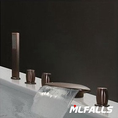 YanCui@ Mlfalls Deck Mount 5-Hole Brass Oil-Rubbed Bronze Finish Widespread Waterfall Bathroom Faucet with Hand Shower by YanCui Sink Faucets