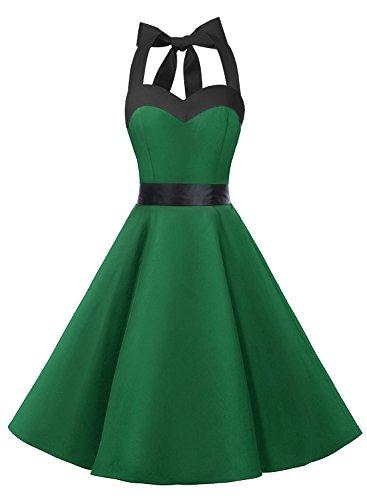 Dresstells® Halter 50s Rockabilly Polka Dots Audrey Dress Retro Cocktail Dress Green Black