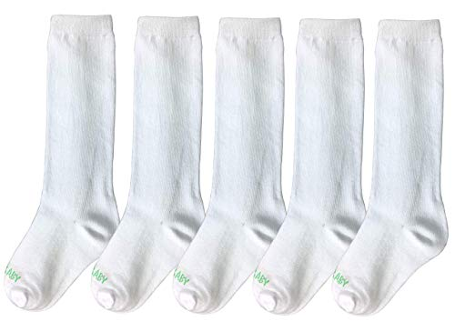 AFO Baby Socks, Knee High - 5 Pack, Ideal for Pediatric AFOs, SMOs and Foot Braces (Size 2 (1-2Years))