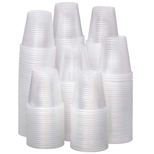 3 oz Small Plastic Cups - Clear Disposable (100-Count) Snack & Drink Size | Party, Event, Wedding, Kids | Recyclable Drinkware | Tea, Soda, Water, Juice, Milk (100)