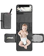 ALLONWAY Skötmatta för baby, bärbar skötbädd för blöjbyte, hopfällbara resemattor med förvaringsfickor