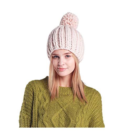 Beige Unie Tricot Femme D'hiver Chaud Chapeau Couleur Headwear Acvip Bonnet En Pom 4wRWIPEqEx