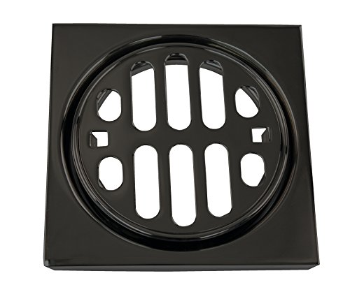 Drain Deluxe Trim Set (Westbrass R3171-62 Snap-in Shower Strainer Grill, Square & Crown, with Tile, Matte Black)
