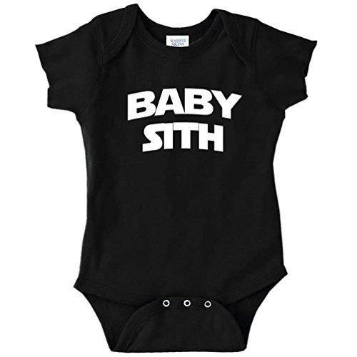 Baby Sith Star Wars Parody Funny Baby Bodysuit Infant (BLACK, 6 MONTHS)