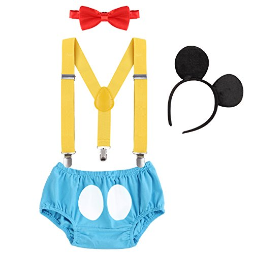 IBTOM CASTLE Cake Smash Outfits Baby Boy 1st Birthday Party Suspenders Diaper Nappy Cover Bow Tie Bloomers Mouse Headband #17 Blue+Red 6-12 Months