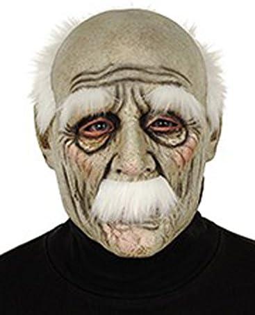Masque vieux monsieur grand père fatiqué avec cheveux masque souple en latex