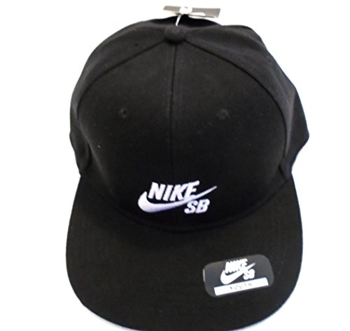 NIKE SB Skateboarding Icon Snapback Hat Everyday Trucker Style Sports Cap (Black/White)