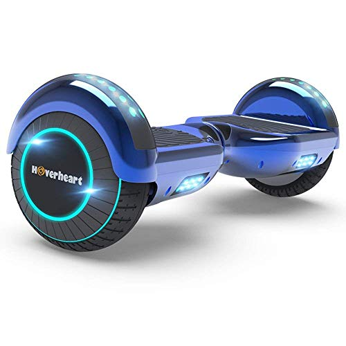 Hoverboard Two-Wheel Self Balancing Electric Scooter UL 2272 Certified, Metallic Chrome with Wireless Speaker and LED Light (Chrome Blue)