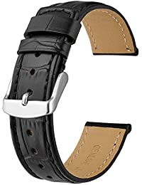 Anbeer Watch Band 22mm, Alligator Grain Leather Replacement Strap for Men-Black