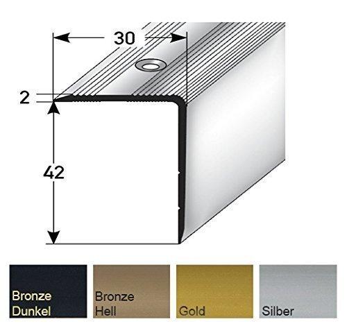 Acerto angular de escalera, perfiles canto de escaló n 42 x 30 mm, 100 cm de largo - plata perfiles canto de escalón 42 x 30 mm