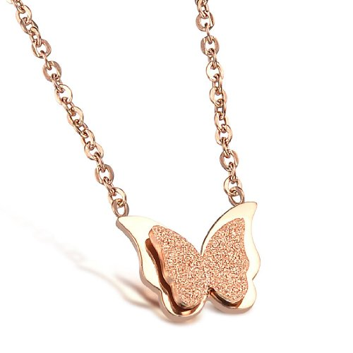 Elove Jewelry Butterfly Pendant Rose Gold Stainless Steel Necklace