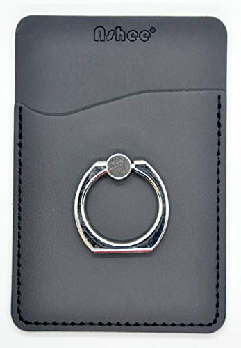 Ashee PU Leather Cell Phone Wallet/Pocket/Card Holder with Ring Stand for Mobile Devices, Adhesive Sticker Back (Black)